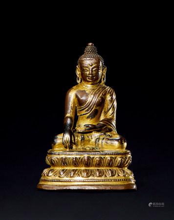 明 铜鎏金释迦牟尼造像