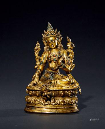 明 中期 铜鎏金绿度母像