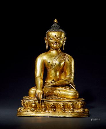 15世纪 尼泊尔铜鎏金释迦造像