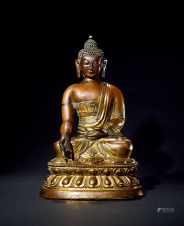清 康熙 铜鎏金释迦牟尼造像