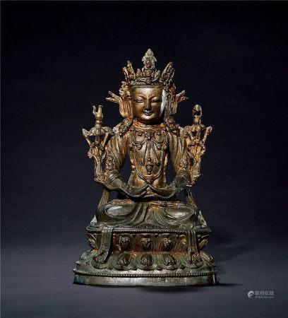 明 宣德 铜鎏金普贤菩萨造像