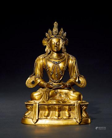 清 康熙 铜鎏金无量寿佛造像