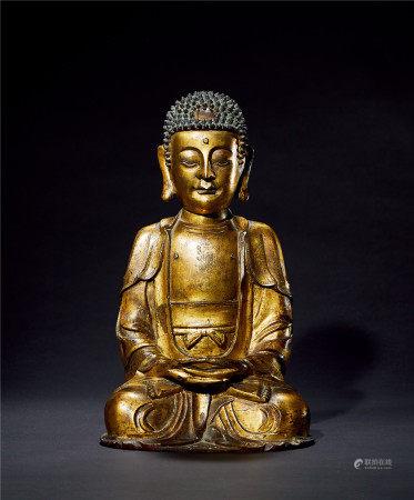 明 铜鎏金药师佛造像