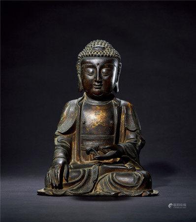 明 铜鎏金释迦牟尼佛造像