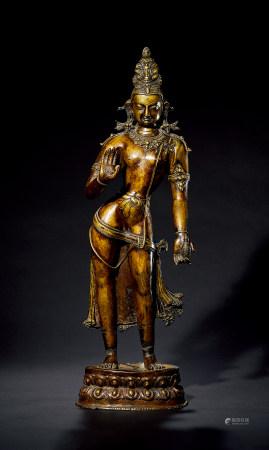 清 铜鎏金观音立像