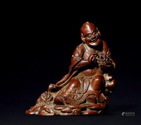 清 竹雕笑狮罗汉像