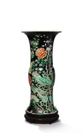 A FAMILLE-NOIRE 'BIRD AND FLOWER' BEAKER VASE, THE PORCELAIN 18TH CENTURY, THE ENAMELS LATER-ADDED