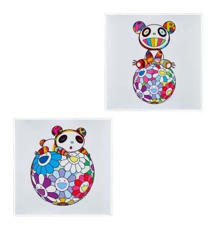 村上隆 2020年作 A panda kid sits on a flower ball;A panda kid makes it easy on a flower ball 丝网版画