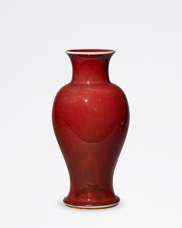 清 康熙 郎窑红釉观音瓶