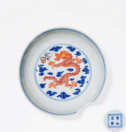 清 乾隆 青花矾红龙纹盘