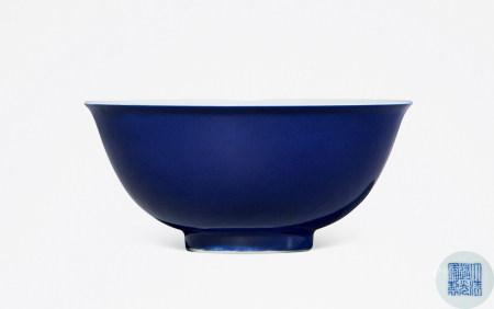 清 道光 蓝釉碗