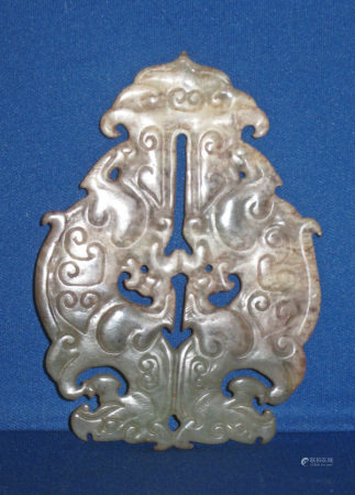 Archaistic jade double phoenix, carved & polished, Chinese - FR3SH