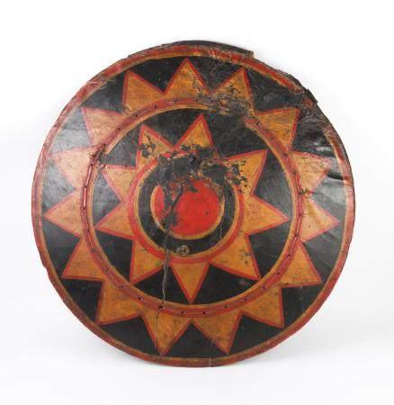 Chinese Polychrome Leather and Wood Shield,  Lolo Tribe, Southwestern China FR3SHLM