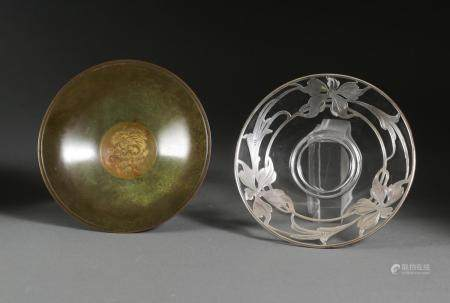 European Silver Overlay Glass Dish and an Arts and Crafts Bronze Dish, Aegte Ildfast  FR3SHLM