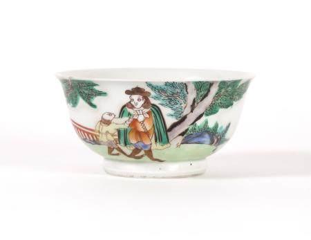 Chinese Porcelain Famille Verte European Subject Bowl, Qianlong Mark, but Modern  FR3SHLM