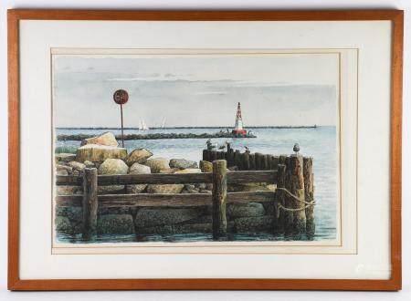 Woldemar Neufeld (1909 - 2002), Seagulls on the Old Dock, Watercolor on Paper FR3SHLM