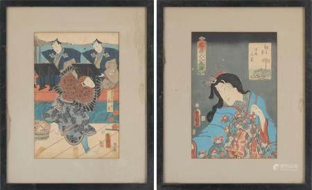 Group of (2) Japanese woodcuts. FR3SH.