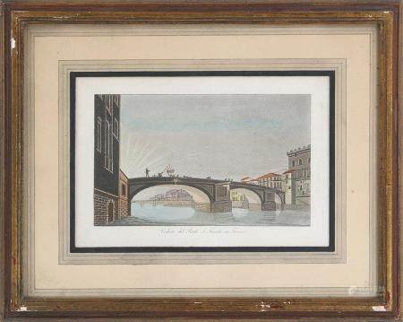 FRANCESCO GANDINI, ''Veduta del Ponte S. Trinita in Firenze'', 19C. FR3SH.