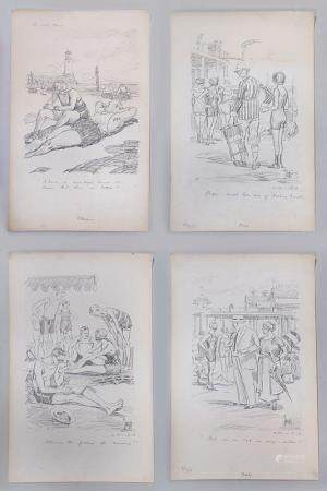 HARRY C. TEMPLE, group of (4) pencil illustrations, 20C. FR3SH.