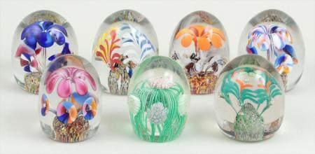 Group of (7) Czech Bohemian style art glass paperweights. FR3SH.