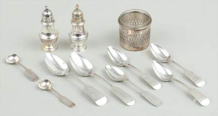 Group of (11) silver  and silverplate table items. FR3SH.