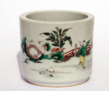 A Chinese famille rose bitong brush pot decorated with figures. 14cm (5.5 ins) highCondition