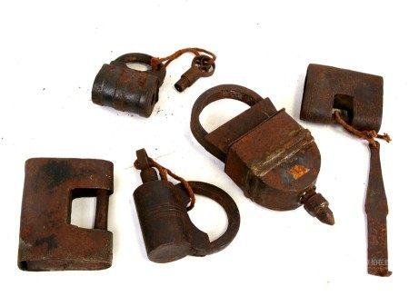 A Chinese padlock and other similar padlocks.