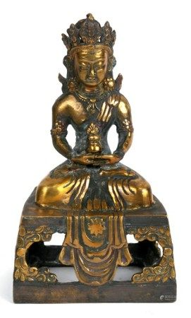 A Chinese bronze figure of a seated Buddha in meditation, 16cms (6.25ins) high.