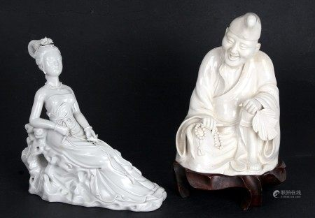 A Chinese blanc de chine figure depicting a seated scholar, mounted on a hardwood stand, 23cms (