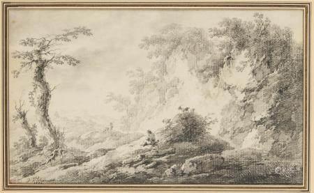 D'après Pillement La Halte des bergers Paire de paysages animés Pierre noire L'un [...]