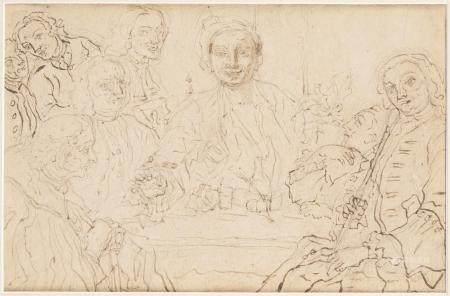 Attribué à Gaspare TRAVERSI (1722-1769) Étude pour une réunion chez un notaire [...]