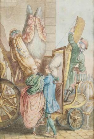 Ecole européenne du XVIIIème siècle Le carosse décapoté Aquarelle, plume et [...]