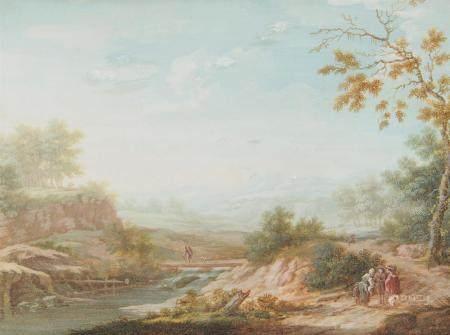 Ecole française du XVIIIème siècle. Scène champêtre dans un paysage au pont [...]