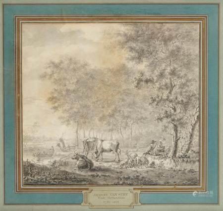 Jacob VAN STRY (1756 1815) Le paturage au bord de l'eau Plume et encre de Chine, [...]