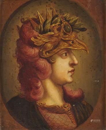 Ecole flamande du 17ème, suiveur de Rubens Portrait d'empereur casqué Cuivre [...]