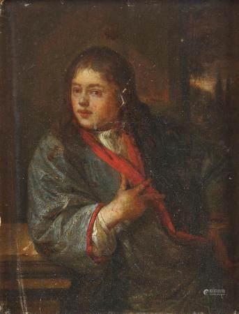 Ecole HOLLANDAISE vers 1700, suiveur de Caspar NETSCHER Portrait d'homme accoudé [...]