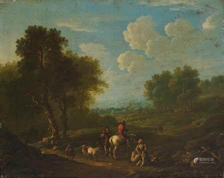 Attribué à Barend GAEL (vers 1620 - 1687) Bergers au repos toile Hauteur : 31 cm [...]