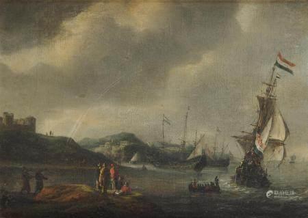 Reiner NOOMS dit ZEEMAN (Amsterdam vers 1623-1664) Voiliers à l'entrée d'un port [...]