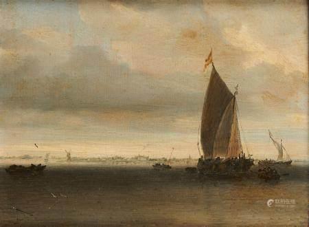 Salomon Van RUYSDAEL ( vers 1600/1603 - 1670) Voilier au large Panneau de chêne [...]