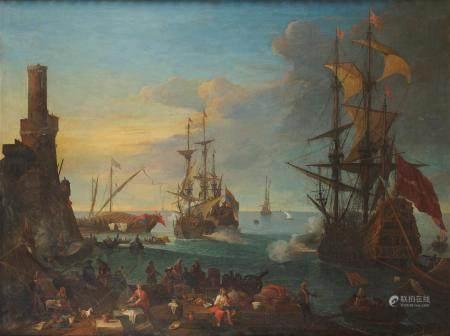Adrien MANGLARD (1695-1760) Cannonade dans un port méditerranéen toile Hauteur : [...]