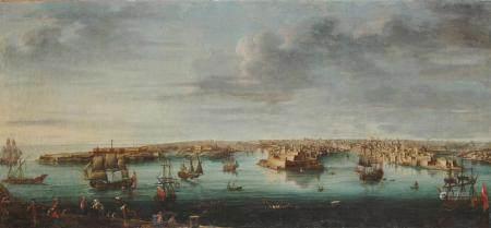 Alberto PULLICINO (actif au 18ème) Malte, vue du port des Anglais du Bichi, du bourg [...]
