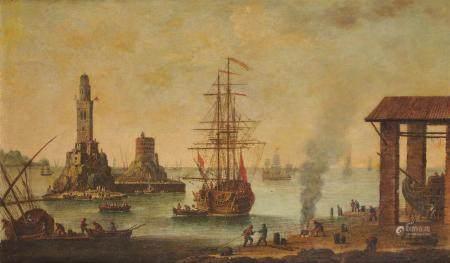 Ecole Française vers 1700, entourage d'Adrien van der Cabel Voiliers dans un port [...]