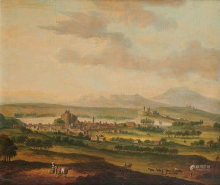 Attribué à Robert GRIFFIER (1688 - vers 1760) Village autour d'un chateau fort [...]