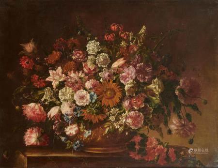 Attribué à Pieter CASTEELS (1684 - 1749) Vase de fleurs coupées sur un entablement [...]