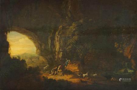 Ecole Allemande du 18ème, entourage de Hackaert Bergers au repos dans une grotte [...]