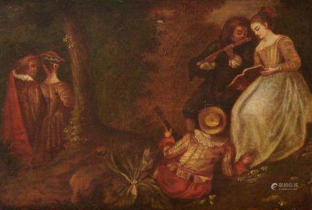 Ecole Française du 18ème suiveur de Watteau Concert dans un parc , au dos un blason [...]