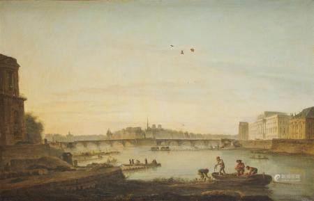 Jean Baptiste François GENILLION (? 1750 - Paris, 1829) Vue du Louvre depuis le quai [...]