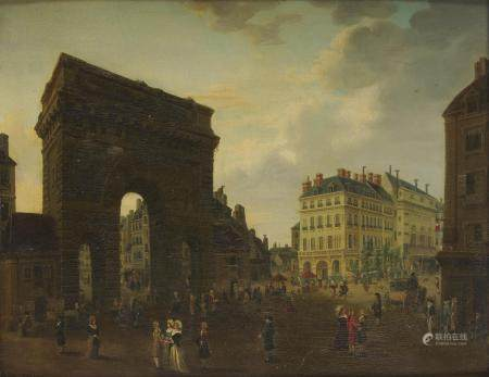 Pierre Antoine DEMACHY (1723 - 1807) Paris, vue de la porte Saint Martin Panneau de [...]