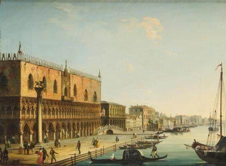 Carlo GRUBACS (vers 1840-1870) Venise, le palais des doges depuis le quai des [...]
