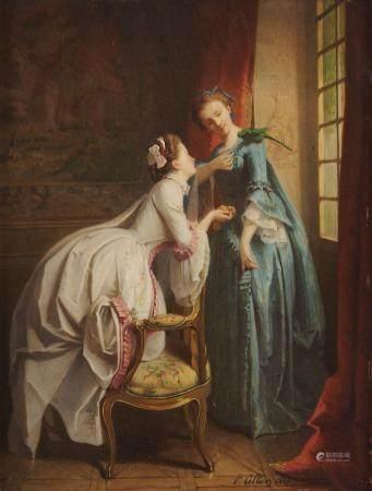 Paul Victor Alfred CELLIER ( Né à Paris en 1826) La becquée de la perruche Panneau [...]